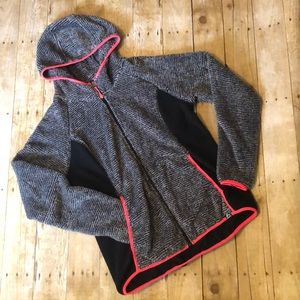 RBX Fleece zipUp with Hood. Grey,black,bright pink